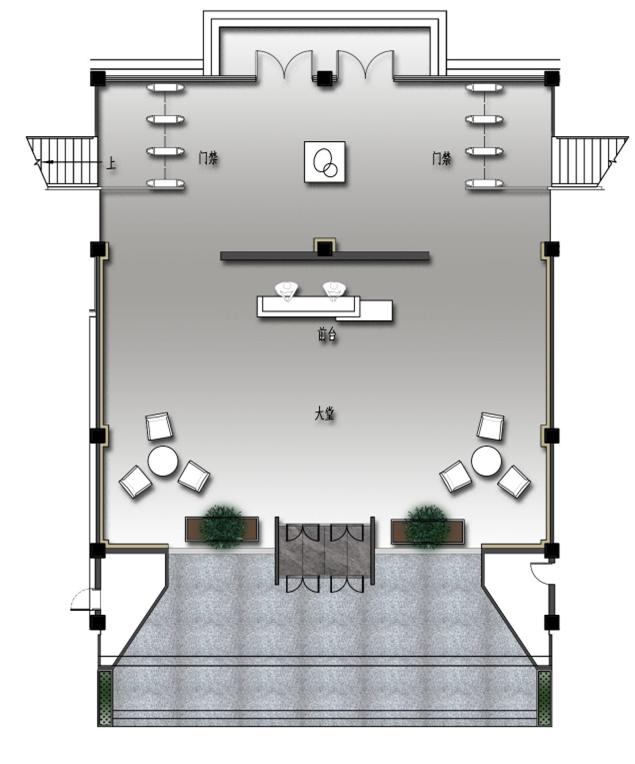 [长沙]现代风格办公空间设计施工图(含效果图)
