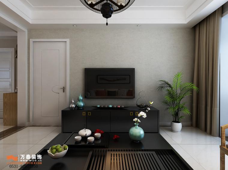 领秀公馆120平三室两厅装修,新中式风格真的很漂亮-影视墙.jpg