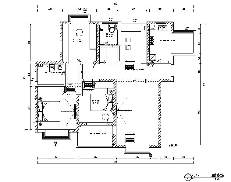 蝴蝶湾美式三居室样板房设计施工图(附效果图)