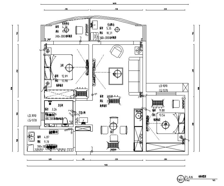 班芙春天简约美式风格二居室住宅设计施工图(附效果图)