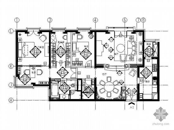 [北京]高级公寓三居室A3户型精装修图纸