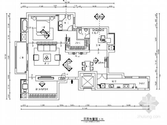 [江苏]现代时尚住宅一居室装修CAD施工图(含效果图)