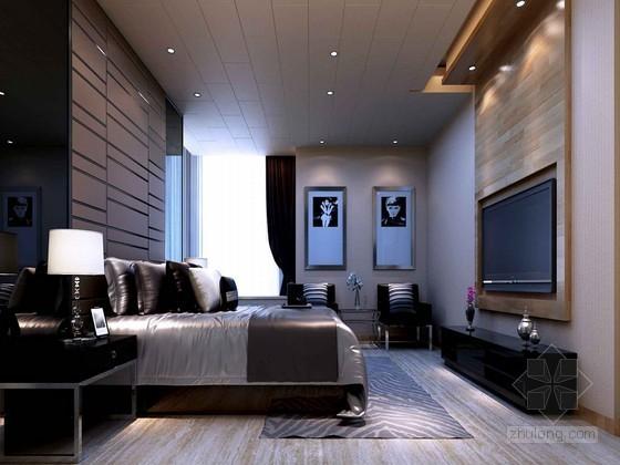 现代时尚卧室3D模型下载