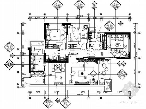 [眉山]简约淡雅现代风格家装样板间施工图(含高清实景图和主材清单)