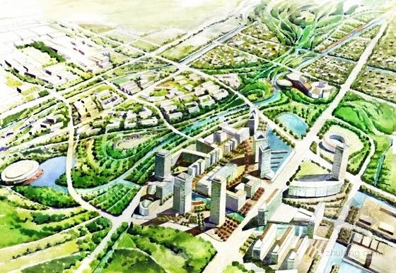 [上海]国际级体育中心景观方案概念规划(著名设计公司)-鸟瞰图