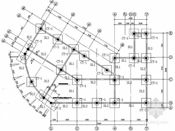 某住宅楼人工挖孔桩基础平面及配筋设计图图片