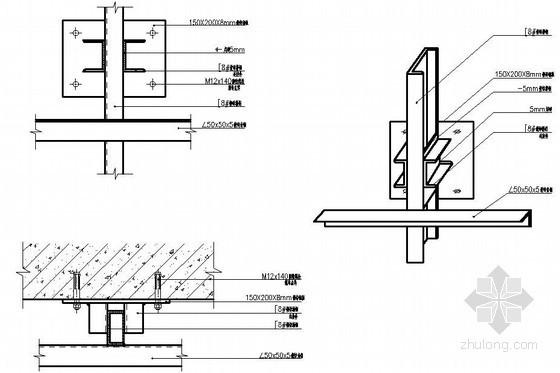 干挂石材骨架竖梃与横梁的连接大样图