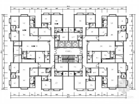 某一梯十户塔式高层住宅户型图