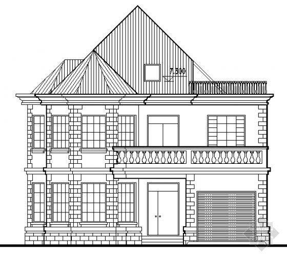 某带阁楼的二层乡村小别墅建筑方案图