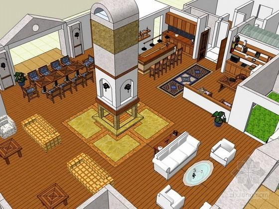 美式别墅室内场景sketchup模型下载