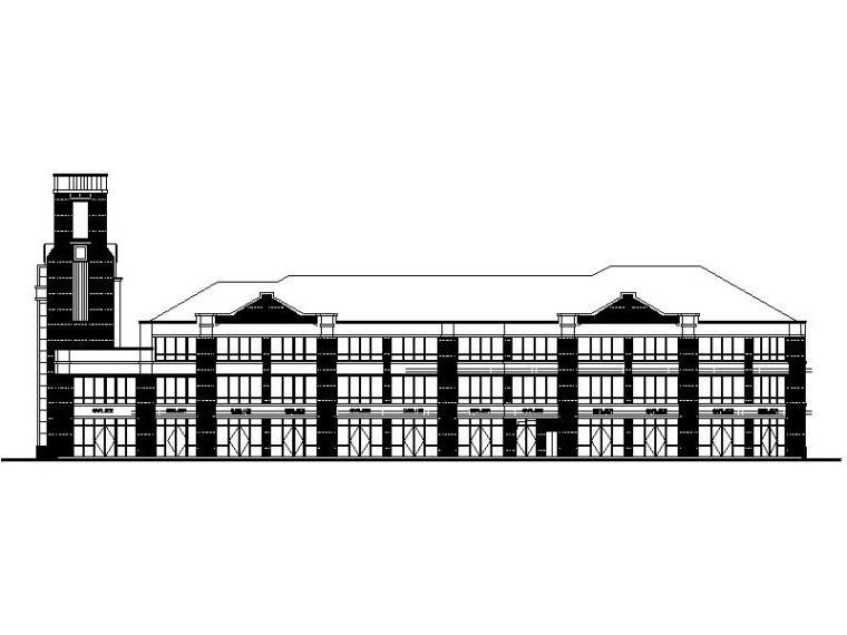 [宁夏]三层欧式联排商业建筑施工图