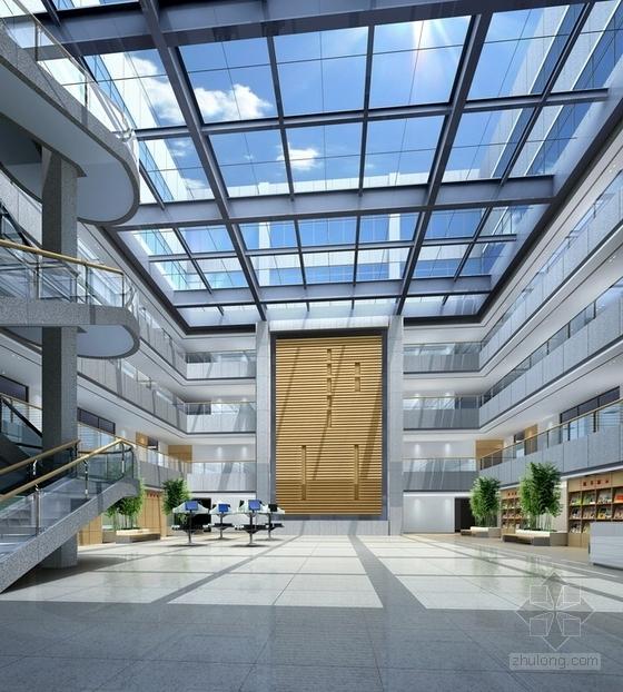 [江苏]独创哲学社会科学研究机构学院新校区图书馆装修施工图(含效果)中庭效果图
