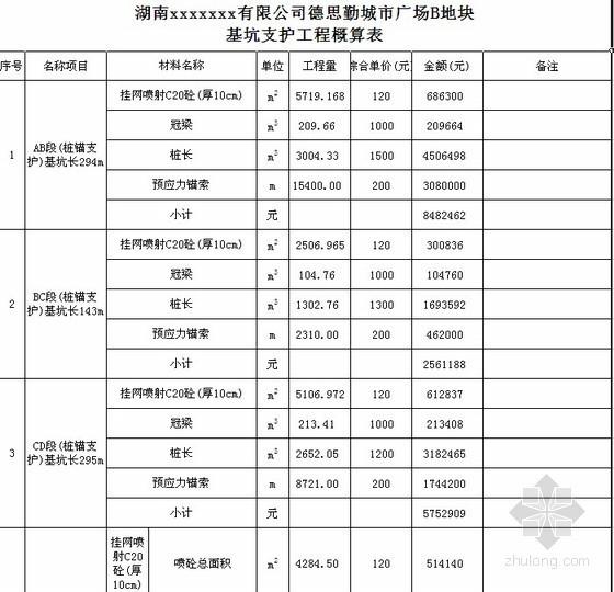 湖南某广场基坑支护工程投标书(2011-05)