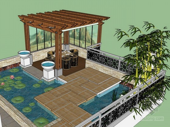 露台景观设计sketchup模型下载