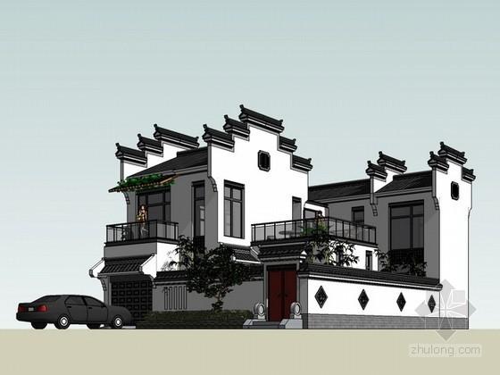 徽派中式别墅住宅sketchup模型下载