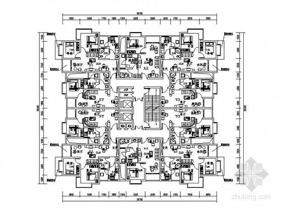 高層住宅一梯十戶標準層平面圖(53、54、68平方米)