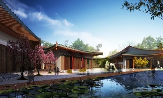 [河南]传统中式风格园林景观式酒店建筑设计方案文本-传统中式风格园林景观式酒店效果图