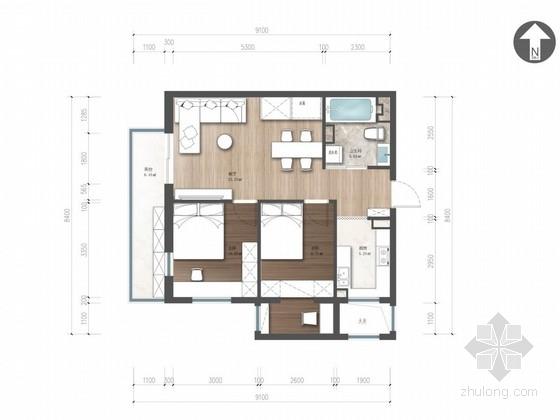 简约时尚现代风格两居室样板间室内设计方案