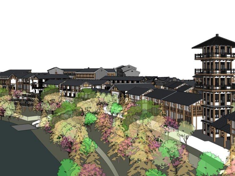 某民国风商业街二层建筑设计(su模型)