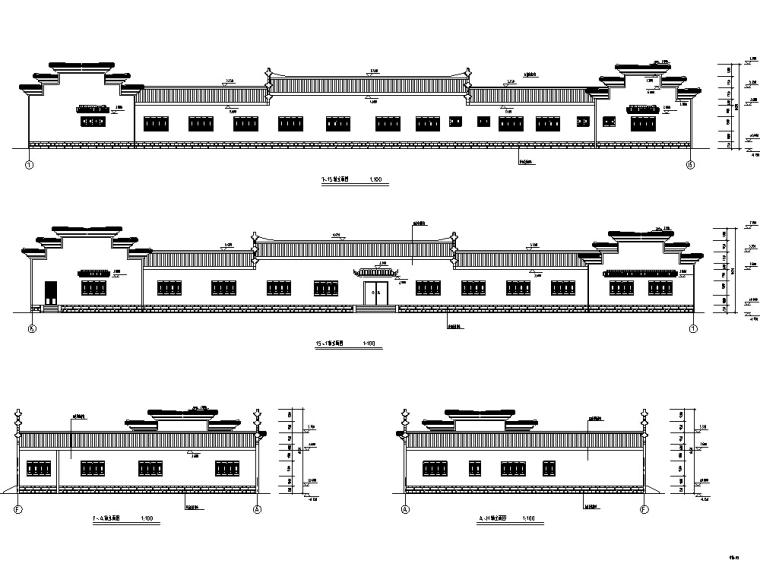中式仿古农家乐餐饮商业建筑设计方案施工图CAD
