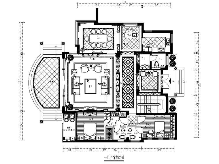 歐式風格別墅設計CAD施工圖(含效果圖)