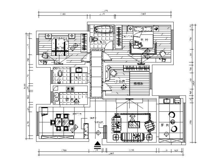 [内蒙古]现代风格样板房CAD施工图(含效果图)