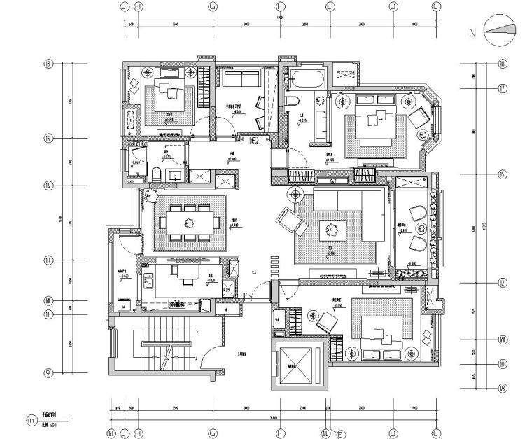 [安徽]华地紫园501户型样板房室内施工图设计(CAD+实景图)