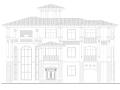 欧式三层坡屋顶独栋别墅庭院建筑施工图