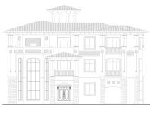 欧式三层大平台独栋别墅庭院建筑施工图