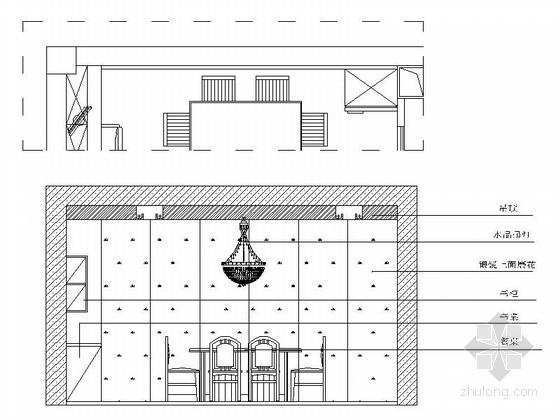 [浙江]海滨公园现代高档两居室装修施工图餐厅立面图