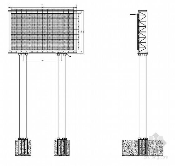 某双立柱钢结构LED显示屏结构设计图