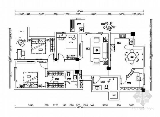 [深圳]时尚简约三室两厅室内设计cad施工图