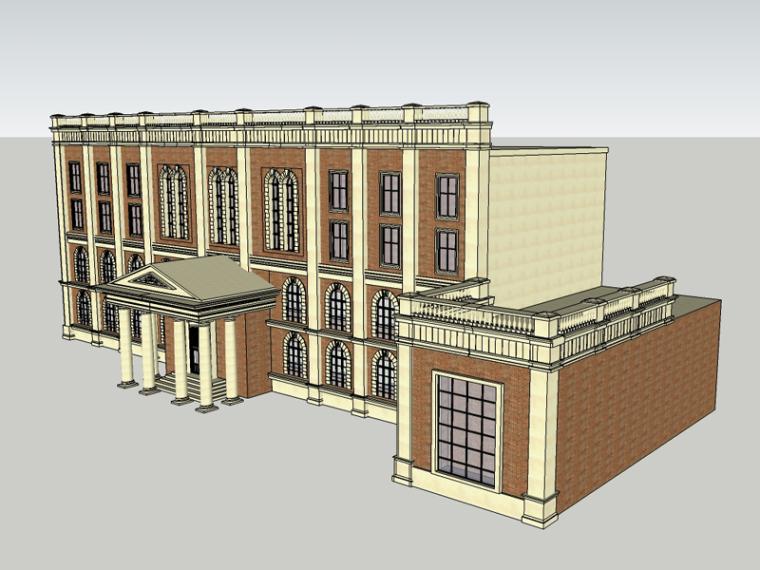 欧式办公装修资料下载-欧式办公建筑SketchUp模型下载