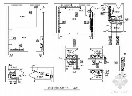 北京某三层综合浴池水暖图纸图片