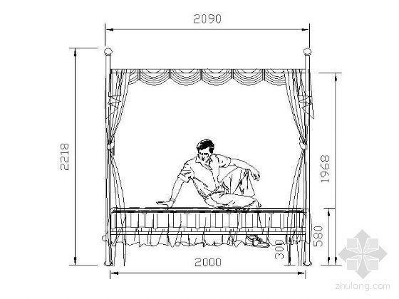 优雅铁艺床立面图块