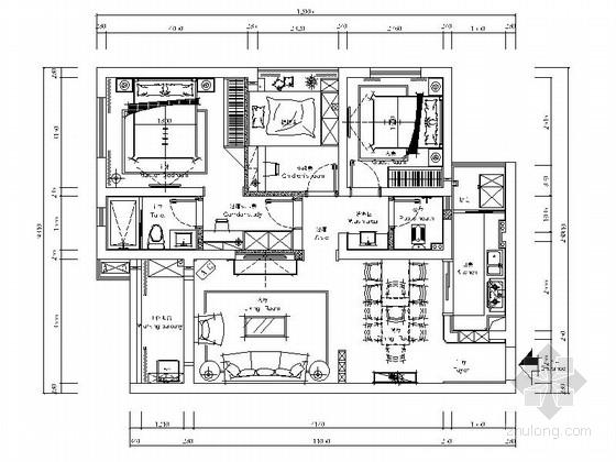 [原创]简约温馨的三室两厅家装施工图(含效果图)