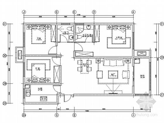 [深圳]精装现代简约3室2厅室内设计cad施工图图片