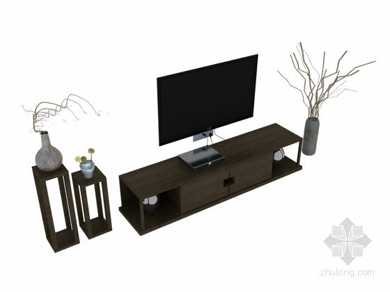 简约中式电视柜3D模型下载