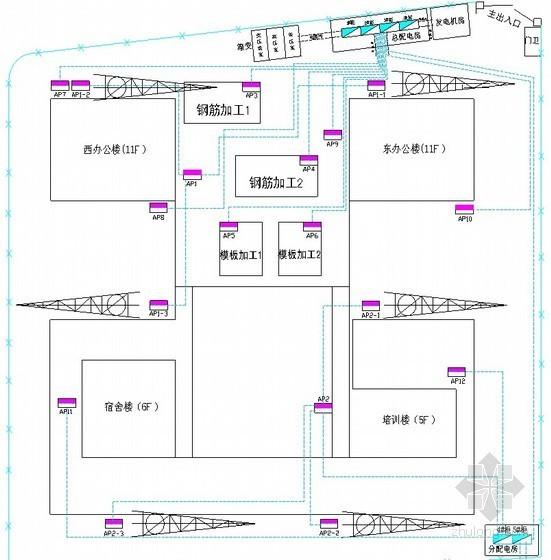 [陕西]办公楼临时用电施工方案(平面布置图)