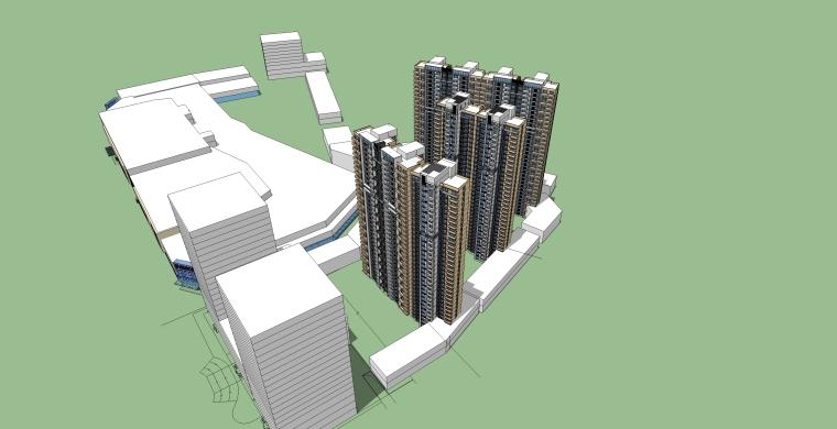 城市酒店商住办公综合体模型(SKP+Max)