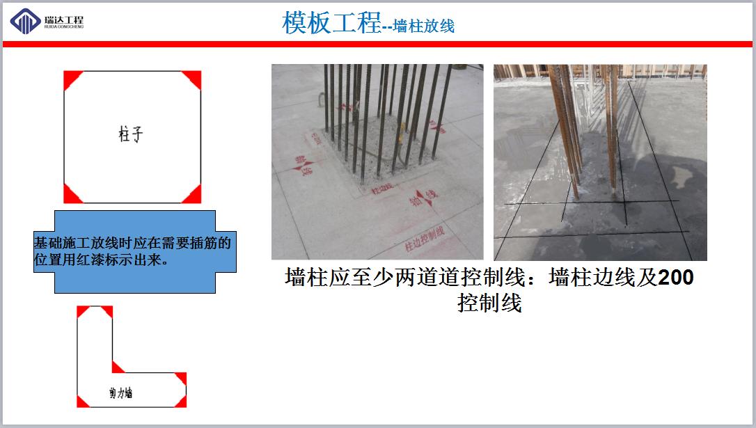 施工放线步骤_模板工程--墙柱放线