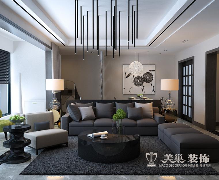 亚太明珠125平黑白灰港式装修,个性时尚三居室
