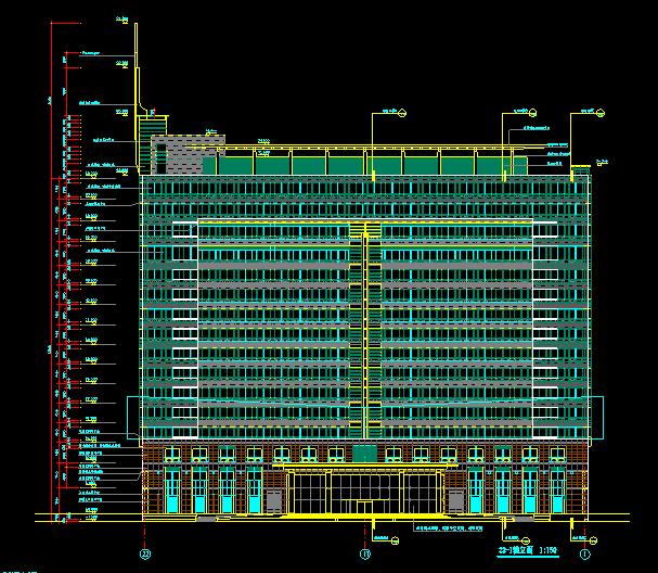 华东设计院——高层框架结构办公楼建筑施工图