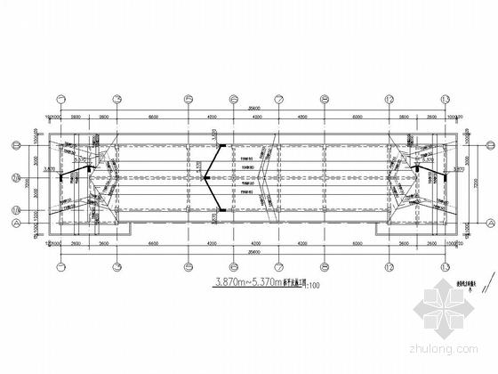 [长沙]一层框架结构加油站站房结构施工图(含建筑图钢框架罩棚)-3.870m~5.370m板平法施工图