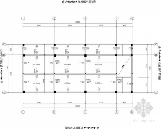 希望小学两层框架教学楼结构施工图