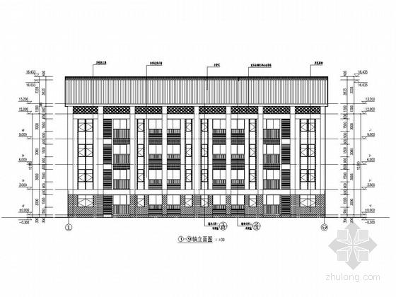四层带内庭小学教师宿舍楼建筑结构施工图
