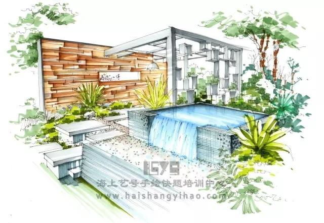 景墙的画法步骤图解析:庭院中间有道墙_7
