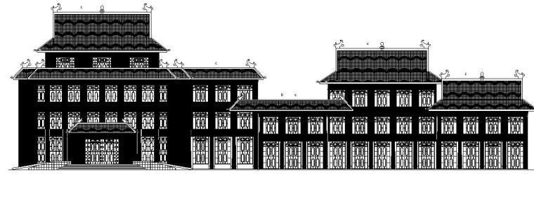 [宁夏]五层中式风格办公楼建筑施工图(含全专业)