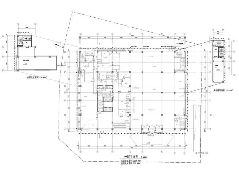 [重庆]高层知名玻璃幕墙酒店建筑立面设计施工图(含效果图)-高层知名玻璃幕墙酒店建筑首层平面图