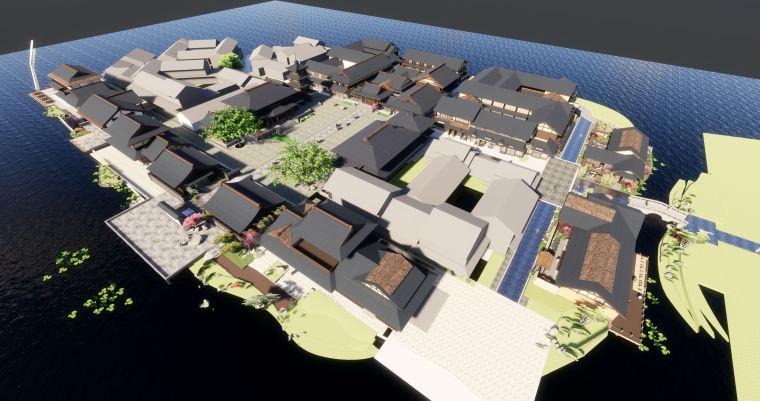 拈花湾日式休闲商业街建筑模型设计(2018年资料)